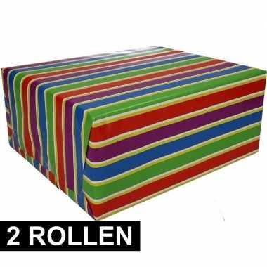 Feestwinkel   2x gekleurd cadeaupapier met strepen 70 x 200 cm type 1