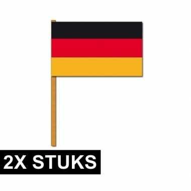 Feestwinkel | 2x grote duitsland zwaaivlaggetjes morgen amsterdam