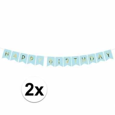 Feestwinkel | 2x happy birthday feest slinger 175 cm morgen amsterdam