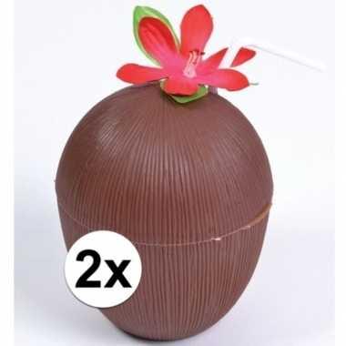Feestwinkel | 2x hawaii drinkbekers kokosnoot model morgen amsterdam