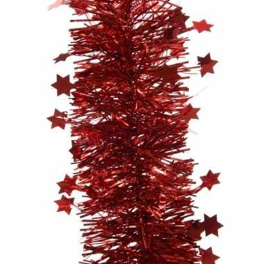 Feestwinkel | 2x kerst lametta guirlandes kerst rood sterren/glinster
