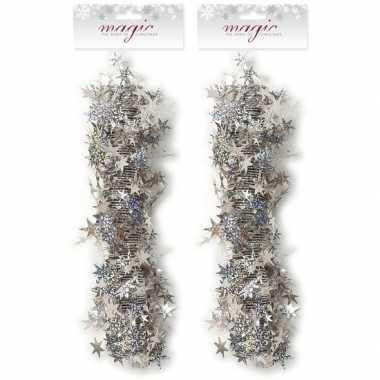 Feestwinkel   2x kerst lametta guirlandes zilveren sterren/glinsterend 3,5 x 750cm kerstboom versiering/decoratie morgen amsterdam