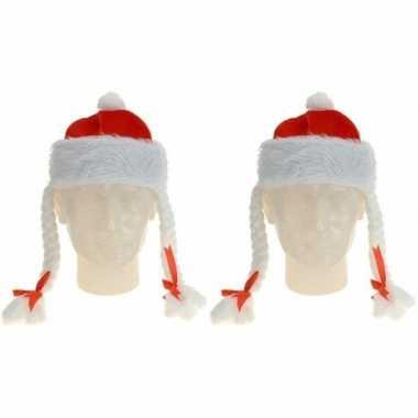 Feestwinkel   2x kerstmutsen met vlechtjes morgen amsterdam