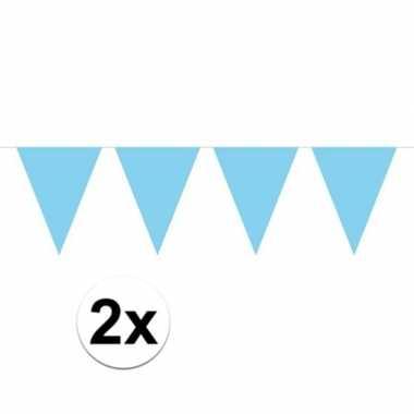 Feestwinkel | 2x mini vlaggetjeslijn slingers verjaardag baby blauw m