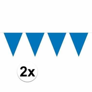 Feestwinkel   2x mini vlaggetjeslijn slingers verjaardag blauw morgen