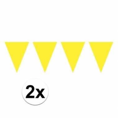 Feestwinkel | 2x mini vlaggetjeslijn slingers verjaardag geel morgen