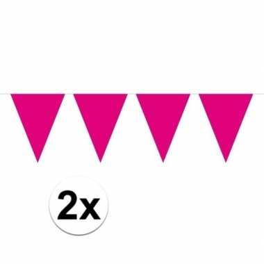 Feestwinkel | 2x mini vlaggetjeslijn slingers verjaardag magenta roze
