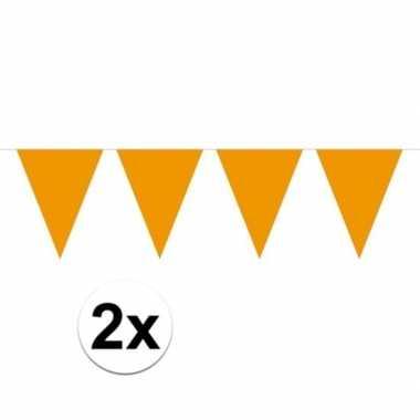 Feestwinkel | 2x mini vlaggetjeslijn slingers verjaardag oranje morge