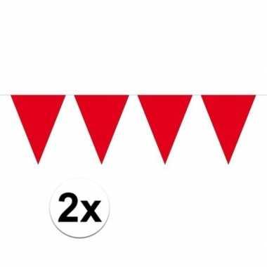 Feestwinkel | 2x mini vlaggetjeslijn slingers verjaardag rood morgen