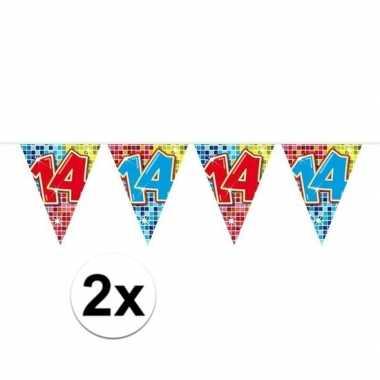 Feestwinkel   2x mini vlaggetjeslijn slingers verjaardag versiering 1