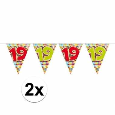 Feestwinkel | 2x mini vlaggetjeslijn slingers verjaardag versiering 1