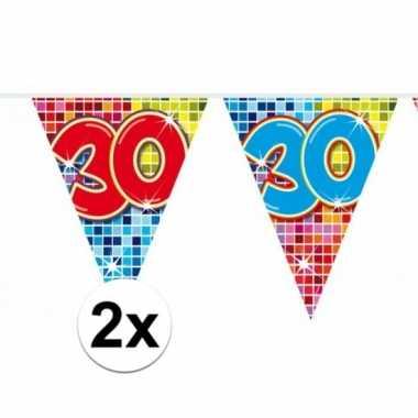 Feestwinkel | 2x mini vlaggetjeslijn slingers verjaardag versiering 3