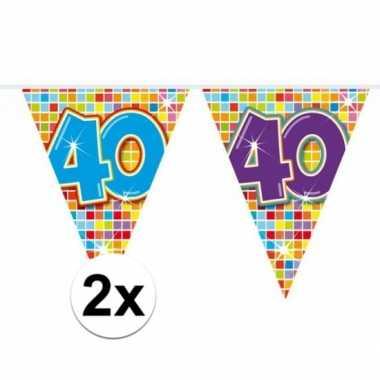 Feestwinkel | 2x mini vlaggetjeslijn slingers verjaardag versiering 4