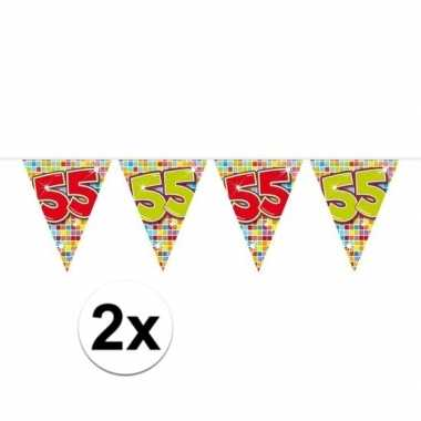 Feestwinkel | 2x mini vlaggetjeslijn slingers verjaardag versiering 5