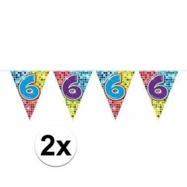 Feestwinkel | 2x mini vlaggetjeslijn slingers verjaardag versiering 6