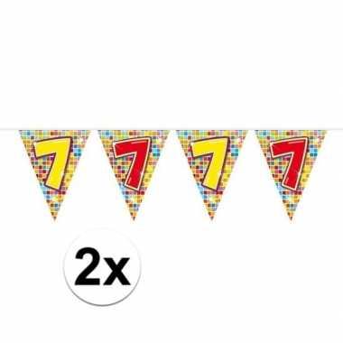 Feestwinkel | 2x mini vlaggetjeslijn slingers verjaardag versiering 7