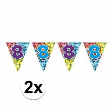 Feestwinkel | 2x mini vlaggetjeslijn slingers verjaardag versiering 8