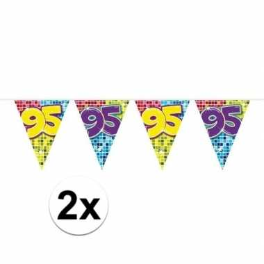 Feestwinkel | 2x mini vlaggetjeslijn slingers verjaardag versiering 9