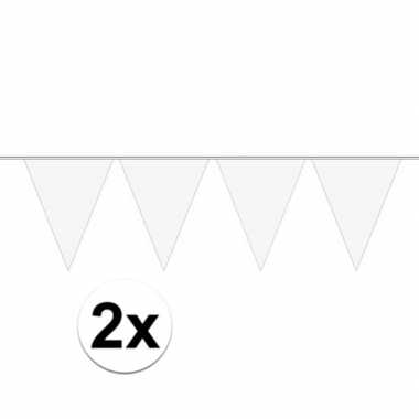 Feestwinkel   2x mini vlaggetjeslijn slingers verjaardag wit morgen a