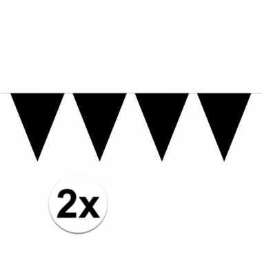Feestwinkel | 2x mini vlaggetjeslijn slingers verjaardag zwart morgen