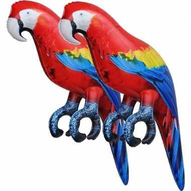Feestwinkel | 2x opblaas ara papegaai vogel dieren 25 cm realistische