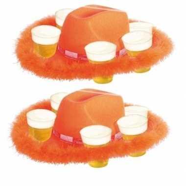 Feestwinkel | 2x oranje bier hoed met bont morgen amsterdam
