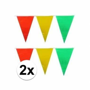 Feestwinkel | 2x plastic vlaggenlijn geel/rood/groen 10 meter morgen
