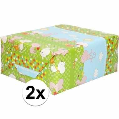 Feestwinkel | 2x rol kinder inpakpapier met muizen print 200 x 70 cm