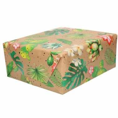 Feestwinkel | 2x rollen bruin cadeaupapier blad en bloem print 70 x 200 cm morgen amsterdam