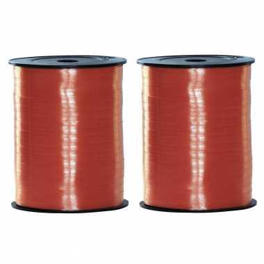 Feestwinkel   2x rollen cadeaulint roodkleurig 500 meter x 5 milimeter morgen amsterdam