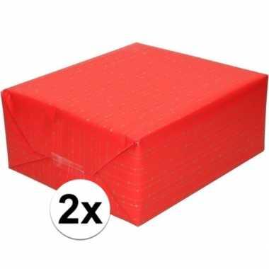 Feestwinkel | 2x rood cadeaupapier met gouden lijnen 70 x 200 cm morg