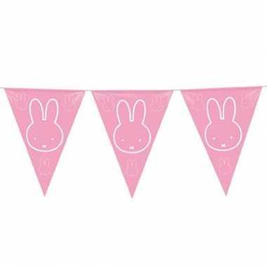 Feestwinkel | 2x roze nijntje meisje geboren slingers van 6 meter mor