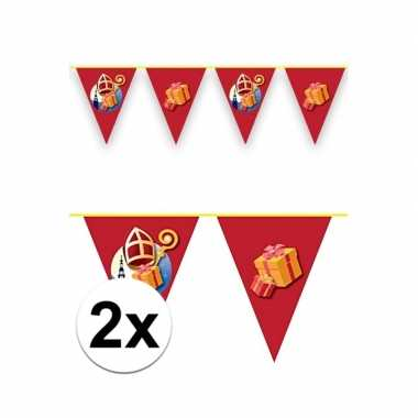 Feestwinkel | 2x sinterklaas decoratie vlaggen slinger rood 6 meter m
