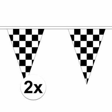 Feestwinkel | 2x stuks finish slingers met puntvlaggetjes van 5 meter
