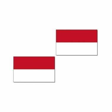 Feestwinkel | 2x stuks gevelvlag/vlaggenmast vlag indonesie 90 x 150 cm morgen amsterdam