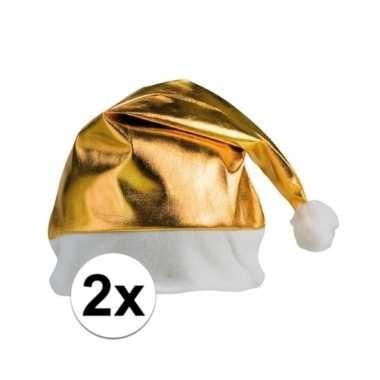 Feestwinkel | 2x stuks kerstmutsen glimmend goud morgen amsterdam