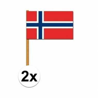 Feestwinkel | 2x stuks noorwegen zwaaivlaggetjes morgen amsterdam
