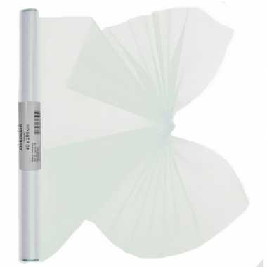 Feestwinkel | 2x stuks organza tule stof wit 40 x 200 cm morgen amste