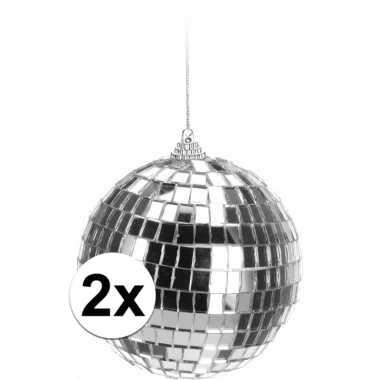 Feestwinkel | 2x zilveren disco kerstballen 10 cm morgen amsterdam