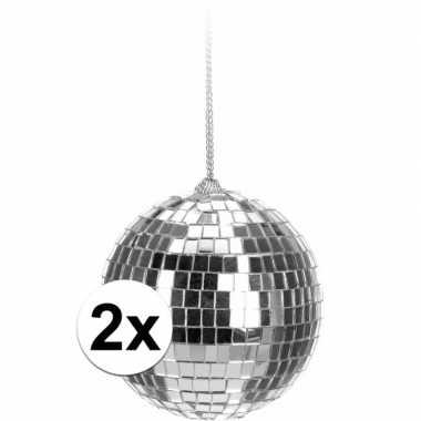 Feestwinkel | 2x zilveren disco kerstballen 6 cm morgen amsterdam