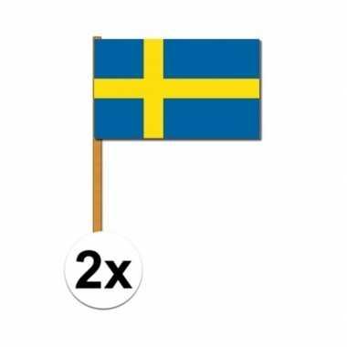 Feestwinkel | 2x zweden zwaaivlaggetjes morgen amsterdam