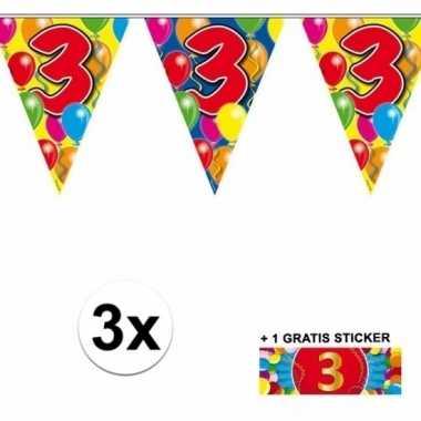 Feestwinkel | 3 jaar vlaggenlijnen 3x met gratis sticker morgen amste