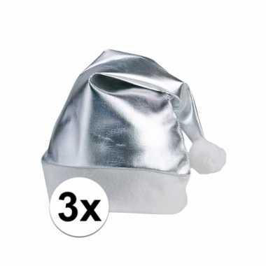 Feestwinkel | 3 zilveren kerstmutsen voor volwassenen morgen amsterda