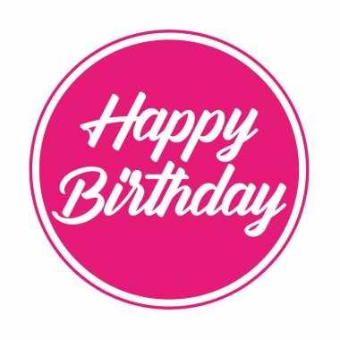 Feestwinkel | 30x stuks bierviltjes/onderzetters happy birthday fuchsia roze 10 cm morgen amsterdam