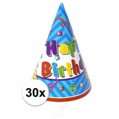 Feestwinkel | 30x stuks happy birthday feesthoedjes morgen amsterdam