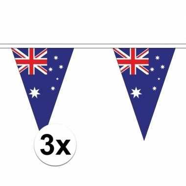 Feestwinkel | 3x australie slinger met puntvlaggetjes 5 meter morgen