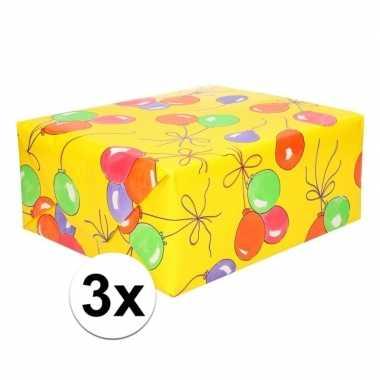 Feestwinkel | 3x ballonnen cadeaupapier 70 x 200 cm morgen amsterdam