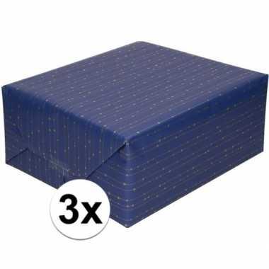 Feestwinkel | 3x blauw cadeaupapier met gouden lijnen 70 x 200 cm mor