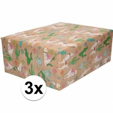 Feestwinkel   3x bruin cadeaupapier alpaca print 70 x 200 cm morgen a