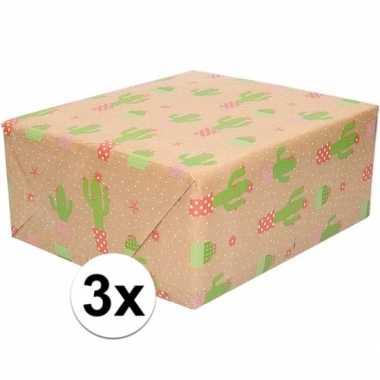 Feestwinkel | 3x bruin cadeaupapier cactus print 70 x 200 cm morgen a